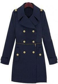 Navy Wide Lapel Double Breatsed Zipper Embellished Wollen Coat
