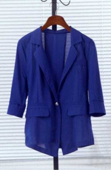 Royal Blue Half Sleeve Pleated Belt Back Chiffon Blazer