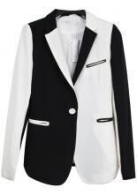 White Black Mix Long Sleeve One Button Curved Hem Blazer