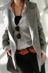 Grey Notch Lapel Center Back Vent Woolen Blazer