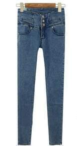 Blue High Waist Three Buttons Distressed Skinny Jeans