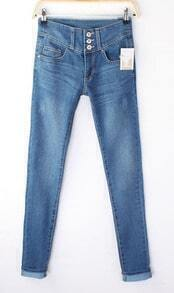 Bleached Blue Three Buttons Distressed Skinny Jeans