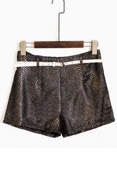 Shiny Copper High Waist Abstract Print Belted Shorts