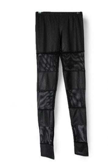 Black Eyelet Contrast PU Leather Panel Legging