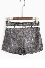 Shiny Silver High Waist Abstract Print Belted Shorts