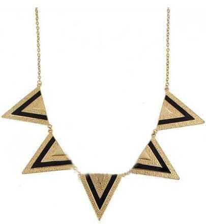Black Gold Metal Five Triangles Long Necklace