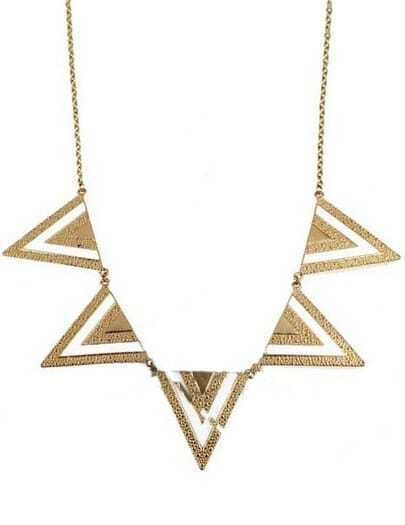 White Gold Metal Five Triangles Long Necklace