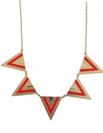 Orange Gold Metal Five Triangles Long Necklace