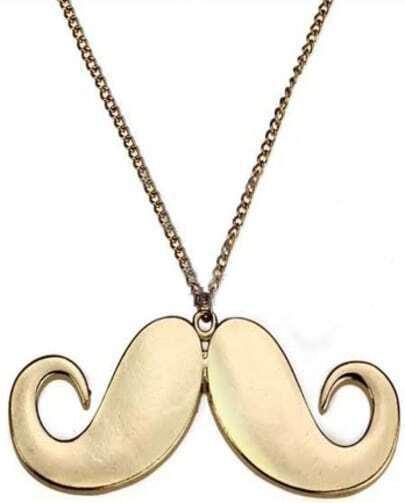 Shiny Gold Mustache Shape Chain Long Pendant Necklace