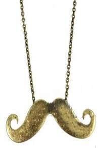 Copper Mustache Long Chain Necklace