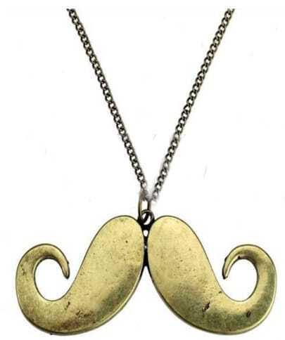 Copper Mustache Shape Chain Long Pendant Necklace