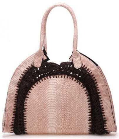 Light Pink Weave Snakeskin Print Shell Tote Handbag