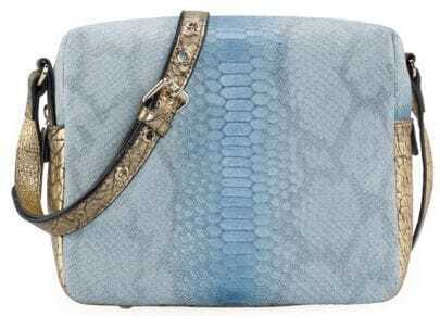 Light Blue Snakeskin Print Shoulder Handbag