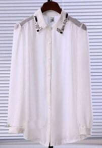 White Gemstone Embellished Collar Split Back Sheer Blouse