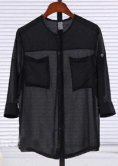 Black Three Quarter Length Sleeve Twin Pockets Sheer Blouse