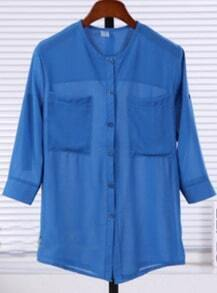 Royal Blue Three Quarter Length Sleeve Twin Pockets Sheer Blouse