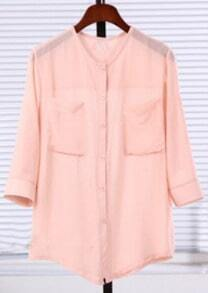 Pink Three Quarter Length Sleeve Twin Pockets Sheer Blouse