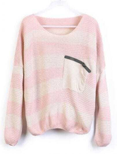 Pink Stripes Loose Sweater with Pocket