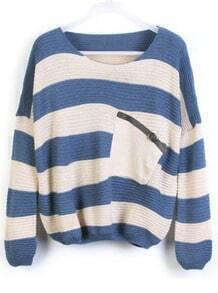 Blue Stripes Loose Sweater with Pocket