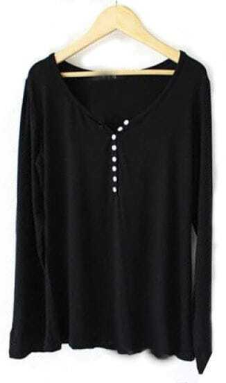 Black Round Neck Long Sleeve Buttons Modal T-Shirt