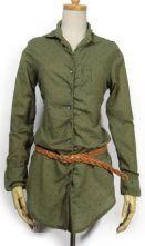 Army Green Lapel Long Sleeve Polka Dot Cotton Shirt