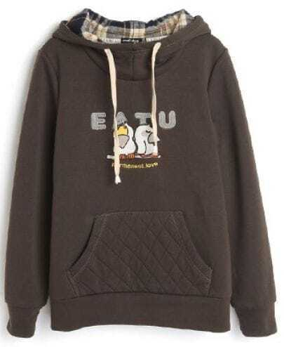 Coffee Hooded Long Sleeve Birds Print Pocket Sweatshirt