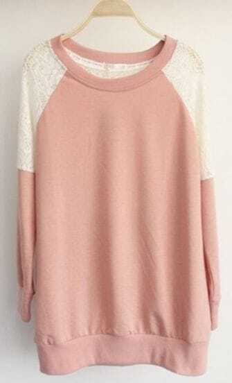 Pink Round Neck Long Sleeve Lace Embroidery Sweatshirt