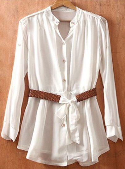 White Long Sleeve Drawstring Waist Buttons Chiffon Shirt