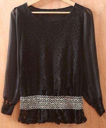 Black Round Neck Long Sleeve Lace Chiffon Shirt