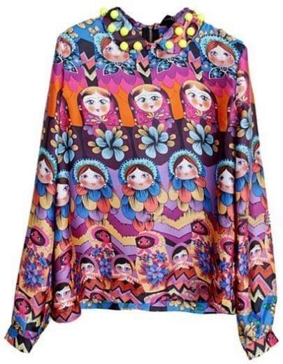 Multi Lapel Long Sleeve Doll Print Chiffon Shirt