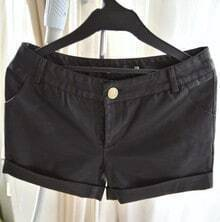 Black Button Fly Loose Leather Shorts