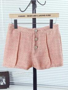 Pink Button Fly Rhinestone High Waist Shorts
