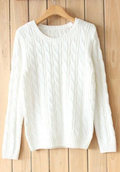 White Round Neck Long Sleeve Cotton Sweater -SheIn(Sheinside)