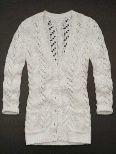 White V Neck Hollow Cardigan Buttons Sweater