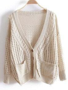 Beige V Neck Long Sleeve Hollow Pockets Sweater