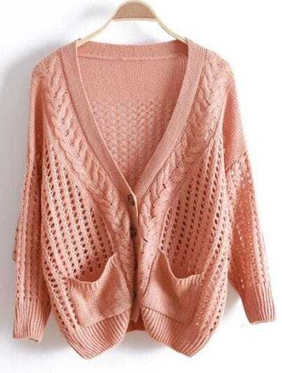 Pink V Neck Long Sleeve Hollow Pockets Sweater