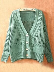 Green V Neck Long Sleeve Hollow Buttons Sweater