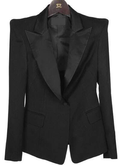 Black Notch Lapel Long Sleeve Single Button Suit
