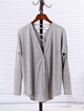 Light Grey V Neck Long Sleeve Drawstring Cotton Sweater
