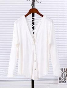 White V Neck Long Sleeve Drawstring Cotton Sweater