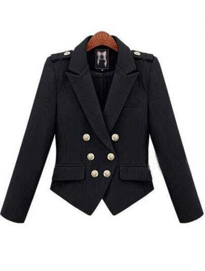 Black Notch Lapel Double Breasted Pockets Suit