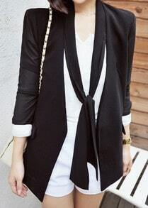 Black Long Sleeve Pockets Ribbons Suit