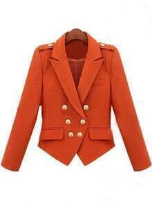 Orange Notch Lapel Double Breasted Pockets Suit