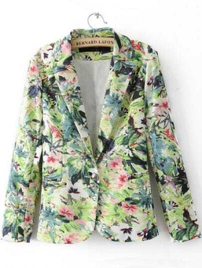 Green Notch Lapel Single Button Floral Suit