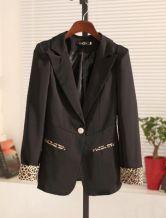 Black Notch Lapel Single Button Leopard Suit
