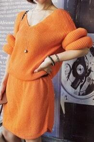 Orange V-neck Half Sleeve Round Cuffs Shift Knitted Dress