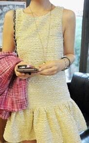 Beige Sleeveless Metallic Yarn Woven Ruffle Hem Tweed Dress