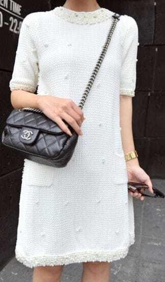 White Short Sleeve Handmade Pearls Beading Embellished Knitted Dress
