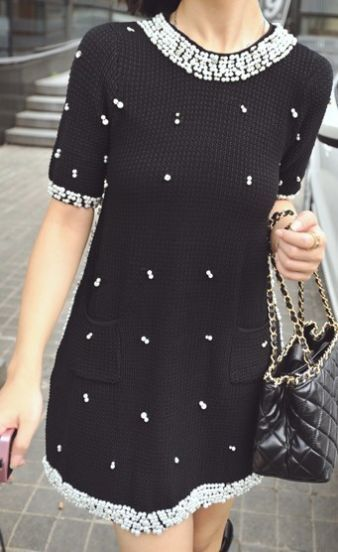 Black Short Sleeve Handmade Pearls Beading Embellished Knitted Dress
