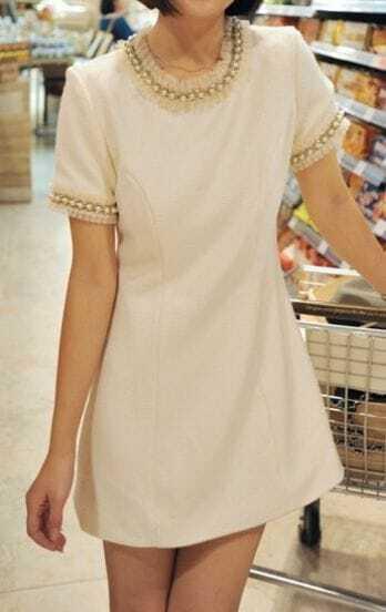 White Short Sleeve Pearls Pleated Ruffle Embellished Short Dress